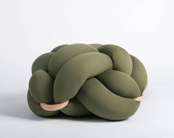 Medium knot Floor Cushion in Olive Green, Knot Floor Pillow pouf, Modern pouf, cushion, pouf ottoman, Meditation Pillow,