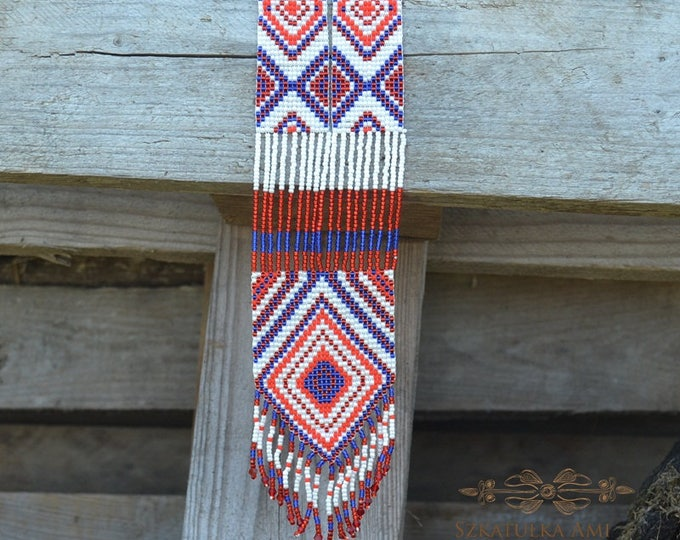 Made to order, AZTEC necklace gerdan, american native, folk style, Looms necklace, Seed bead necklace, woven necklace, beaded necklace
