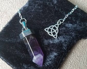 Amethyst Gemstone Crystal Point Scrying Pendulum with Silver Plated Triquetra Symbol Celtic Knot Charm, Wiccan Witch Divination Pendulum