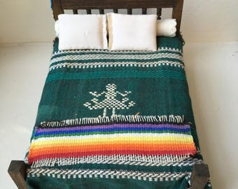"""Dollhouse Miniature Southwestern Dressed Bed  1"""" Scale  (DC)"""