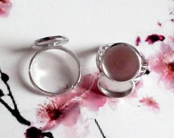 10 rings adjustable silver plate 12mm round cabochon or cameo