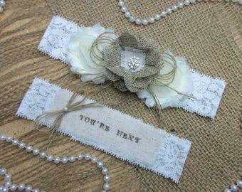 Burlap Country Chic Wedding Garter Set,Rustic Keepsake & Toss Wedding Garter Set,Wedding Garters