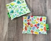 KIDS SNACK BAGS • Reusable Snack Bags • Waterproof Snack Bags • Dinosaur Bags • Monster Bags • Party Favor Bags • Back To School • BizyBelle