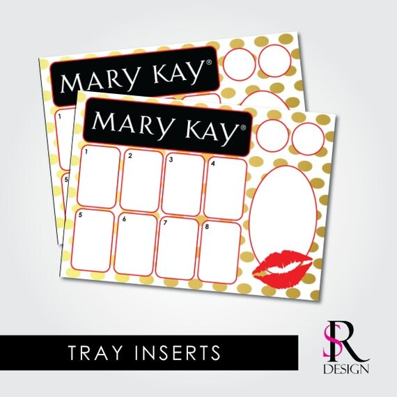 Mary Kay Tray Inserts, Gold Dots with Red Kiss