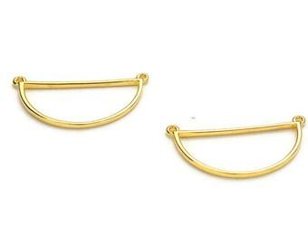 Beautiful Wireframe Semi-Circle Pendant/Charm Holder - 24K Nickel Free Gold Plated - Qty. 2