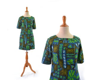 Hawaiian Print Dress, Hawaiian Dress, Tiki Print, Tropical Print, Vintage Dress, Vintage Clothing, 1960s Dress, 60s Dress, Vintage Hawaiian