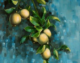 Kitchen wall decor-lemon- lemon print-original-oil painting-lemon decor-lemon painting-kitchen painting-kitchen wall art-dining room decor
