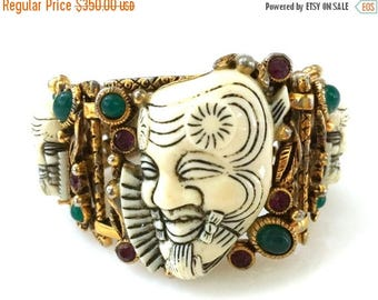 Selro Noh Mask Bracelet, Three Masks, Jewel Tone Cabochons, Pierced Gold Tone,
