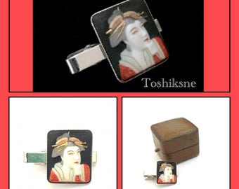 Toshikane Geisha Tie Clip, Porcelain Japanese Motif, Molded & Hand Painted Geisha, Dimensional Portrait, Vintage Asian Jewelry, Gift For Him