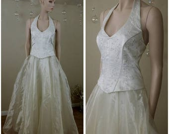 vintage 90s ivory wedding dress , gown size xl