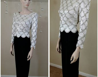 Vintage 90s Hand Beaded and sequin Evening Dress Gown size 8 by George William