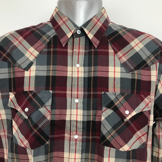 Vintage Western Shirt red check poly cotton cowboy shirt burgundy plaid weave snap button front large rockabilly large tall long sleeve