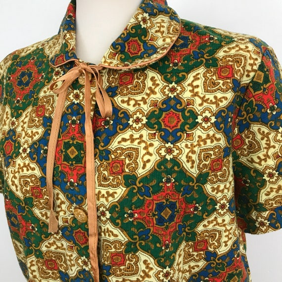 1950s paisley print cotton robe flared babydoll cotton twill house coat gold chintz dressing gown UK 10 12 max cute 50s