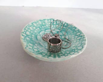 Turquoise lace textured ceramic trinket dish, romantic ring holder jewelry catcher bowl, pottery ring bearer