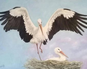 STORKS oil on canvas