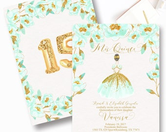 Mint and Gold Quinceanera Invitation, Mis Quince, Mint, Gold, Sweet Sixteen, Gold Quinceaners, Sweet Fifteen