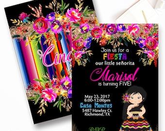 Fiesta Birthday Invitation, Mexican Fiesta Birthday Invitation, First Fiesta Invitations, Bright Floral Fiesta, Senorita Fiesta Invite