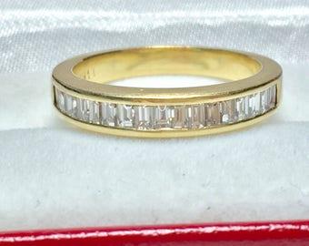 Vintage Baguette Wedding Band l 14KT White Gold Diamond Ring l Bridal Ring l Engagegemt Ring