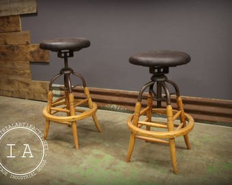Pair Vintage Style Adjustable Bentwood Bar Stools