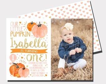 Our Little Pumpkin Birthday Invitation | Pumpkin Birthday Invitation | Fall Birthday Invitation |  First Birthday | Pink nd Gold Invitation