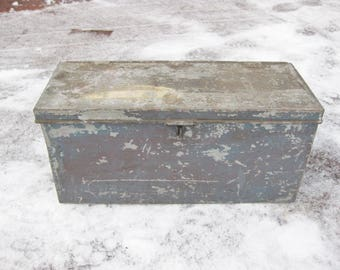 Vintage Tool Box, Peter Gray Maker Boston, Galvanized Steel Tool Box, Industrial Railroad Tool Box