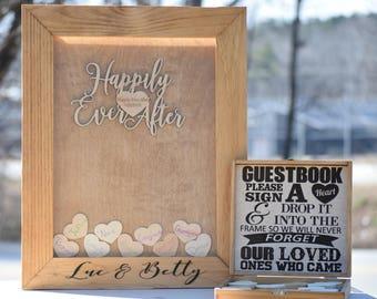 Guest Book Wood Frame - Alternative Guest Book - Wedding Drop Box - Wooden Guest Book - Guestbook Ideas - Heart Drop Guest Book - Drop Box