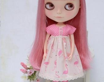 Pretty pastel flamingo print empire dress for Blythe