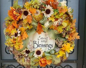 Count your Blessings burlap mesh wreath, fall wreath,Autumn wreath