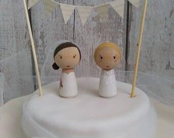 Bride & Bride Cake Topper, Mrs and Mrs Cake Topper, Personalised Cake Topper, Gay Wedding, Civil Partnership, Hers 'n' Hers, Lesbian Wedding