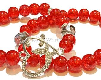 Red Heart Bracelet Set, OOAK, Valentines Day Bracelet, Stretchy,Heart Charm, Beaded Stack, Custom Handmade Beaded Bracelets