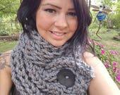 Bulky Button Crochet Double Wrap Scarf