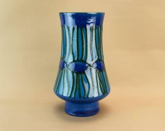 Blue Black Lava Glaze Vase Vintage German 1970s Modernist