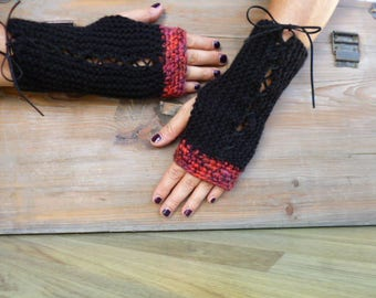 sweater, mittens, wool red black Corset gloves Gothic gloves, wrist gloves fingerles gloves corset Burlesque black red