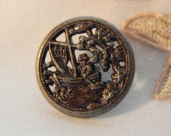 Oriental in a Boat - Antique Button