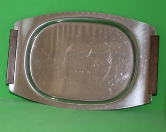 Mid-Century Svend Jensen Stainless Tray with Teak wood handles made in Dnemark