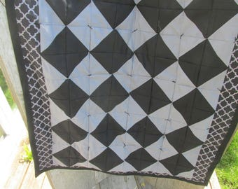 Black and Gray Diamond Pattern Lap Quilt 42 inches by 43 inches