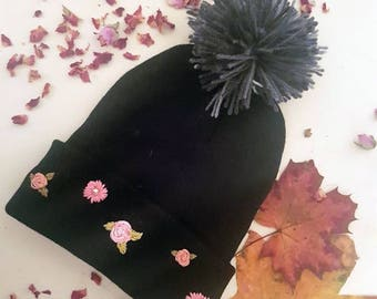 Embroidered Floral Pom Pom Beanie with Pearl Embellishment