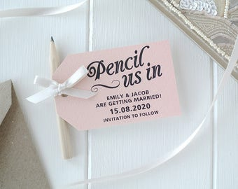 Pencil Us In! - Peach Save The Date Cards