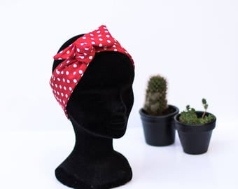 headband fabric red pin up