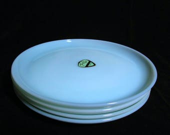 Fire King Dinner Plates, Blue Turquoise, 9 Inch, Set of 4  (2 Sets Avail) Excellent Condition,  Mid Century Dinnerware