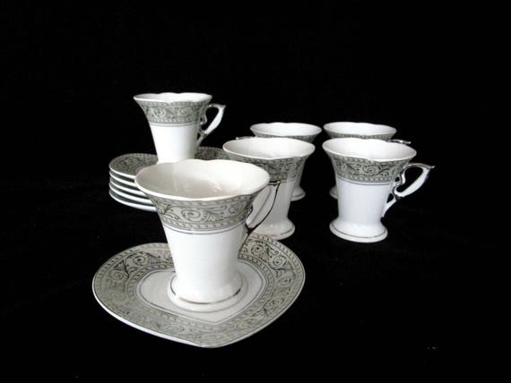 Set of 6 Espresso Cups and Saucers,  Silver Filigree on Creamy White Porcelain, Scalloped Lip, Italian Design Porcelain