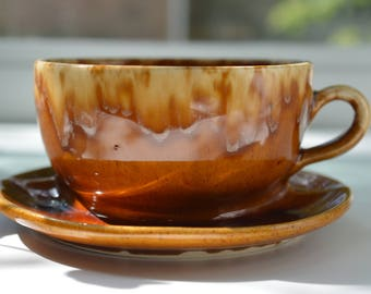 Brush McCoy Planter Cup and Saucer 37 Brown Drip (B)