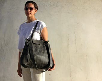 Gray leather tote, Large leather bag, Oversize leather bag, Gray leather bag, leather tote bag, Gray tote bag, tote with pockets, women bag