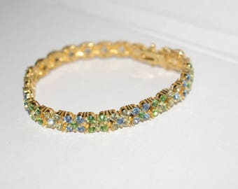 Joan Rivers Crystal Bracelet - Blue and Green - S1416