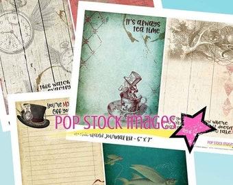 SALE: Alice in Wonderland Printable Journal - Wonderland Printable - Mad Hatter - Journal Kit - Collage - Journaling - Tea Party - Junk Jour