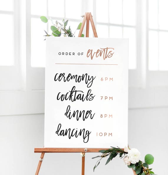 Wedding Order Of Events: Wedding Rose Gold Order Of Events Sign Wedding Reception
