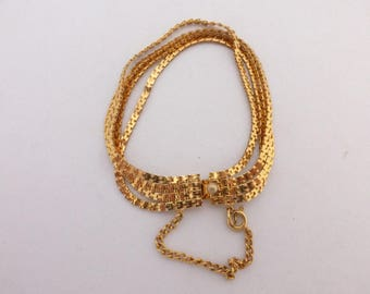 Signed HOBE 7 inch Multi Strand Gold Chain Bracelet with Safety Chain