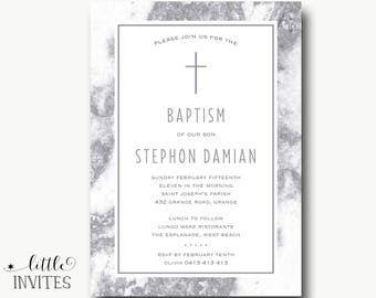 Baptism Invitation boy/Marble invitation/Grey glitter marble/printable/christening/First Holy Communion Invitation/Confirmation-Stephon