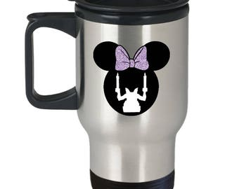 Disney Minnie Mouse Haunted Mansion Travel Mug Gift Gargoyle Ghosts Disneyland Fan Coffee Cup