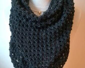 Châle tricoté main, en soie et coton, gris anthracite